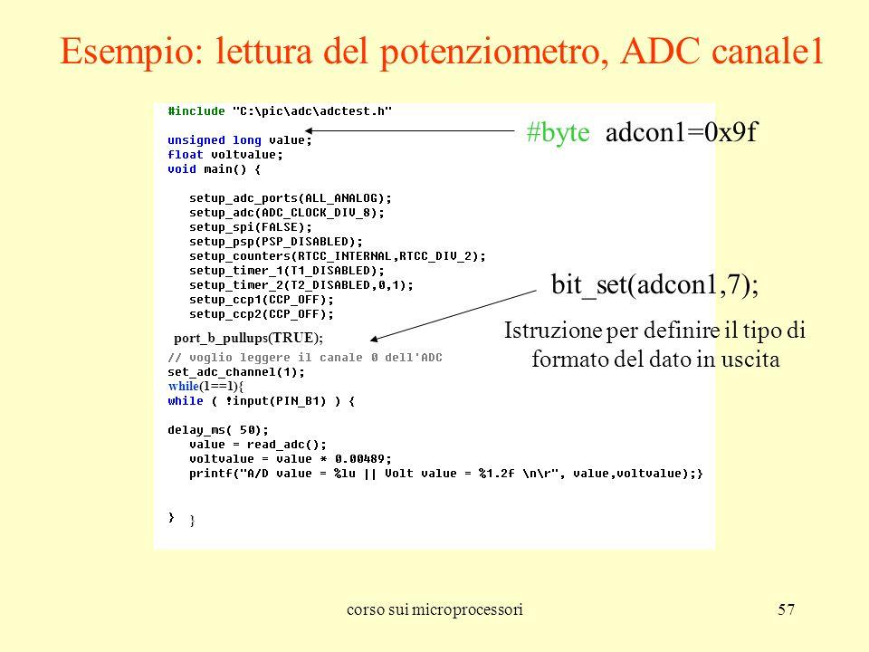 Esempio: lettura del potenziometro, ADC canale1