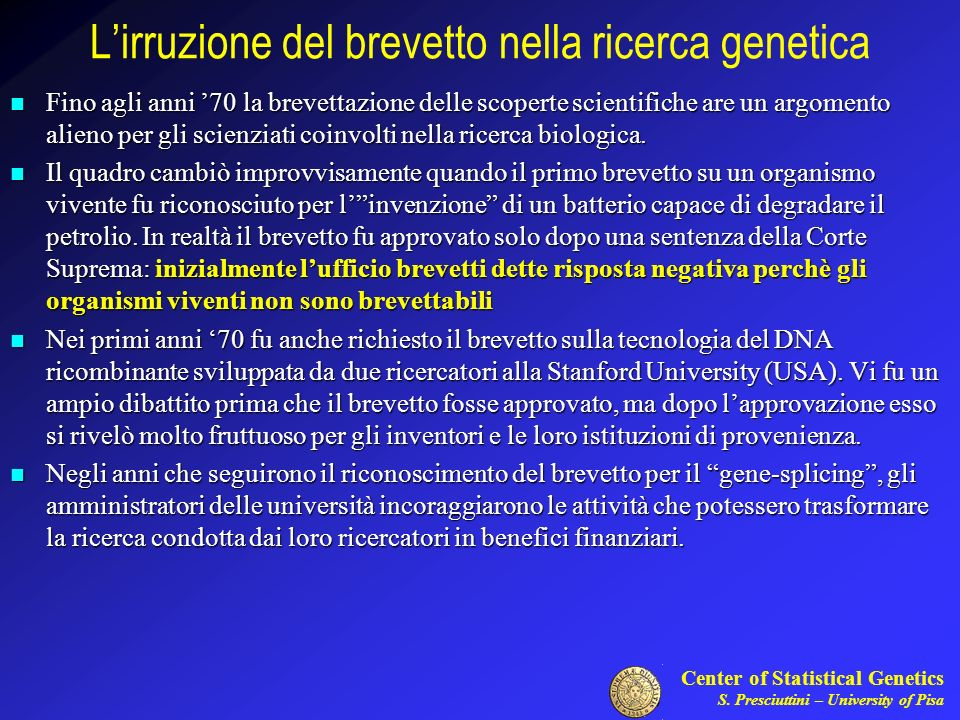 L'irruzione del brevetto nella ricerca genetica