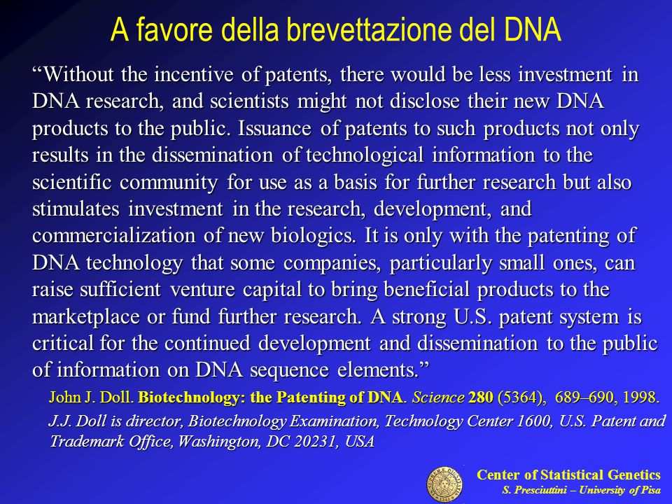 A favore della brevettazione del DNA