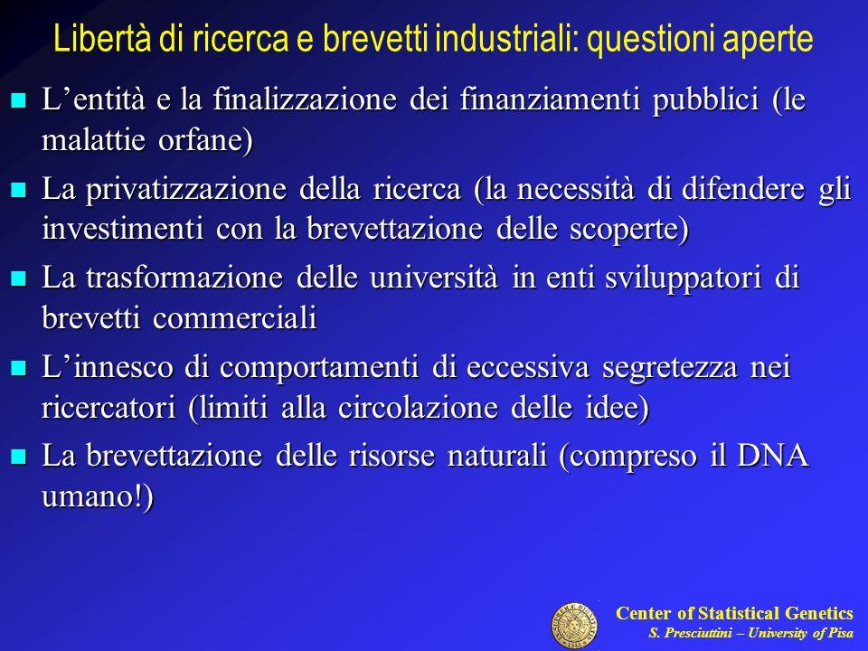 Libertà di ricerca e brevetti industriali: questioni aperte