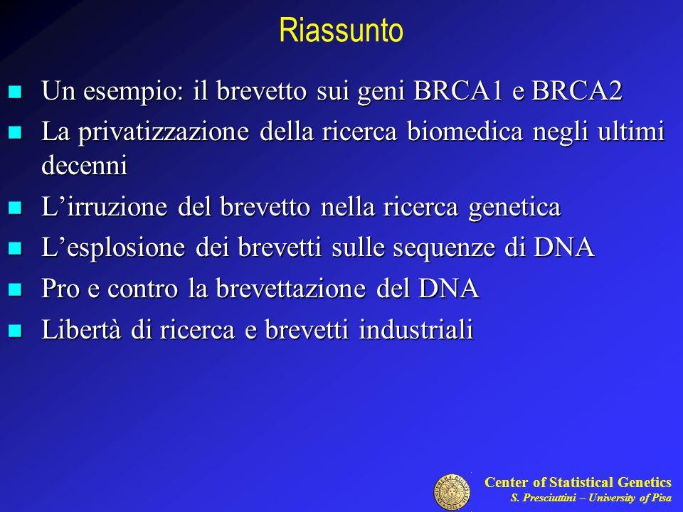 Riassunto Un esempio: il brevetto sui geni BRCA1 e BRCA2