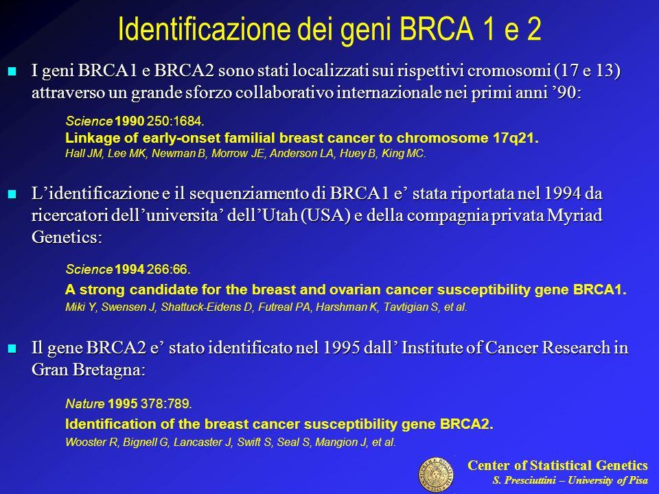 Identificazione dei geni BRCA 1 e 2