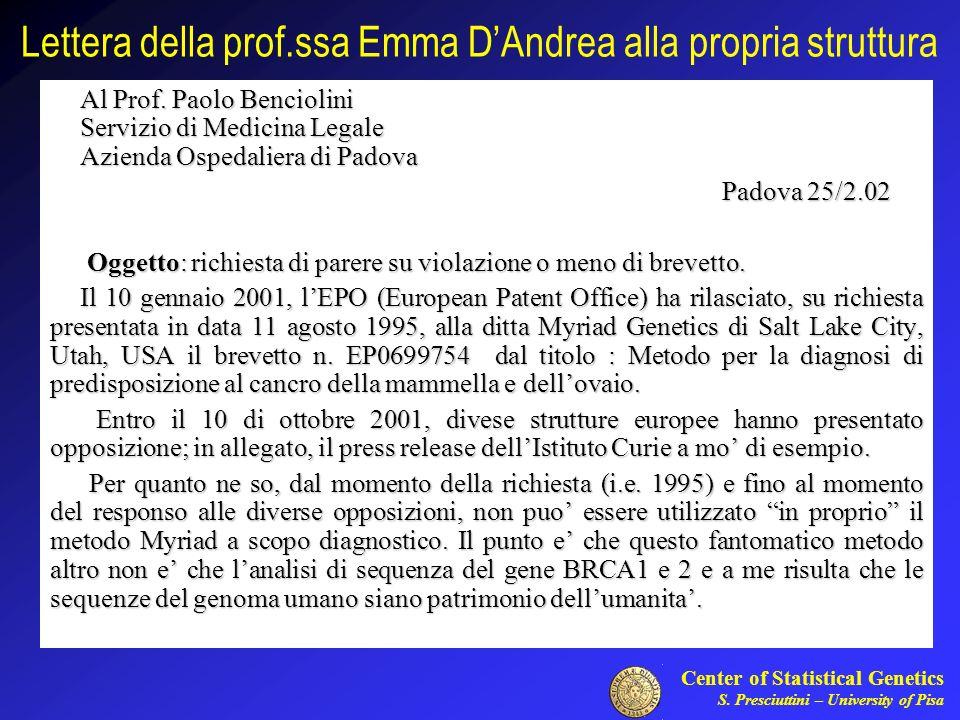 Lettera della prof.ssa Emma D'Andrea alla propria struttura