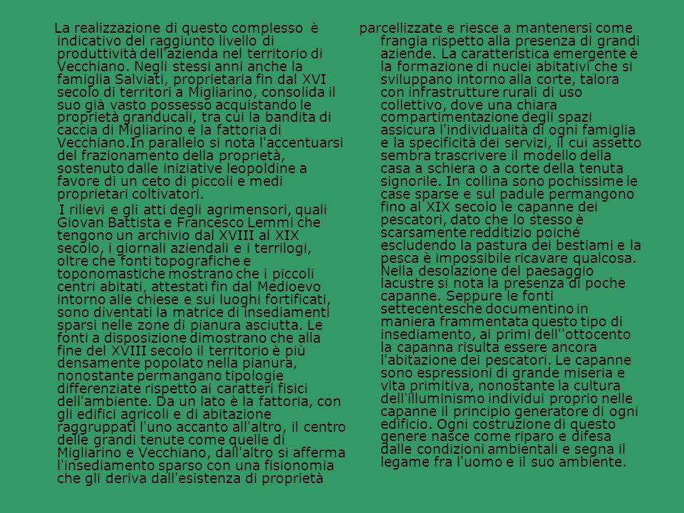La realizzazione di questo complesso è indicativo del raggiunto livello di produttività dell azienda nel territorio di Vecchiano. Negli stessi anni anche la famiglia Salviati, proprietaria fin dal XVI secolo di territori a Migliarino, consolida il suo già vasto possesso acquistando le proprietà granducali, tra cui la bandita di caccia di Migliarino e la fattoria di Vecchiano.In parallelo si nota l accentuarsi del frazionamento della proprietà, sostenuto dalle iniziative leopoldine a favore di un ceto di piccoli e medi proprietari coltivatori.