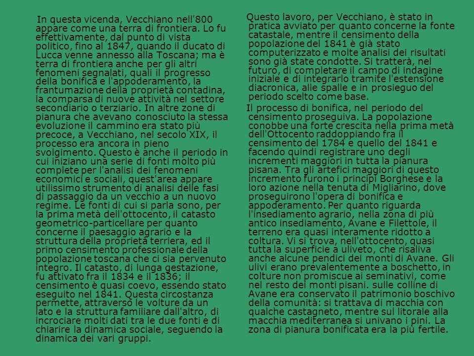 In questa vicenda, Vecchiano nell 800 appare come una terra di frontiera. Lo fu effettivamente, dal punto di vista politico, fino al 1847, quando il ducato di Lucca venne annesso alla Toscana; ma è terra di frontiera anche per gli altri fenomeni segnalati, quali il progresso della bonifica e l appoderamento, la frantumazione della proprietà contadina, la comparsa di nuove attività nel settore secondiario o terziario. In altre zone di pianura che avevano conosciuto la stessa evoluzione il cammino era stato più precoce, a Vecchiano, nel secolo XIX, il processo era ancora in pieno svolgimento. Questo è anche il periodo in cui iniziano una serie di fonti molto più complete per l analisi dei fenomeni economici e sociali, quest area appare utilissimo strumento di analisi delle fasi di passaggio da un vecchio a un nuovo regime. Le fonti di cui si parla sono, per la prima metà dell ottocento, il catasto geometrico-particellare per quanto concerne il paesaggio agrario e la struttura della proprietà terriera, ed il primo censimento professionale della popolazione toscana che ci sia pervenuto integro. Il catasto, di lunga gestazione, fu attivato fra il 1834 e il 1836; il censimento è quasi coevo, essendo stato eseguito nel 1841. Questa circostanza permette, attraverso le volture da un lato e la struttura familiare dall altro, di incrociare molti dati tra le due fonti e di chiarire la dinamica sociale, seguendo la dinamica dei vari gruppi.