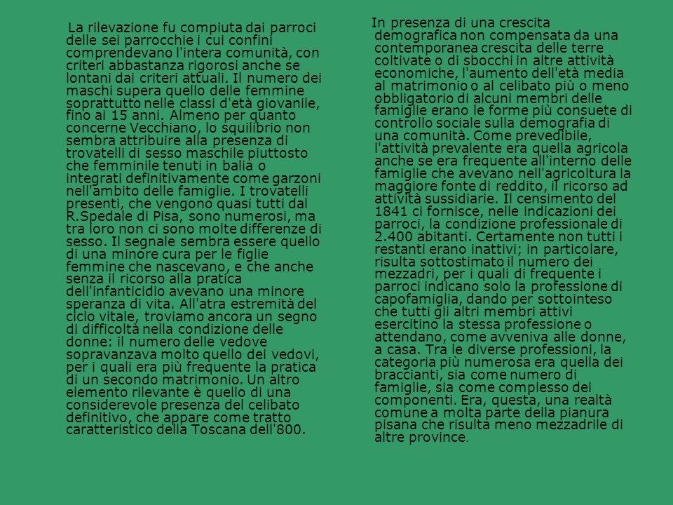 In presenza di una crescita demografica non compensata da una contemporanea crescita delle terre coltivate o di sbocchi in altre attività economiche, l aumento dell età media al matrimonio o al celibato più o meno obbligatorio di alcuni membri delle famiglie erano le forme più consuete di controllo sociale sulla demografia di una comunità. Come prevedibile, l attività prevalente era quella agricola anche se era frequente all interno delle famiglie che avevano nell agricoltura la maggiore fonte di reddito, il ricorso ad attività sussidiarie. Il censimento del 1841 ci fornisce, nelle indicazioni dei parroci, la condizione professionale di 2.400 abitanti. Certamente non tutti i restanti erano inattivi; in particolare, risulta sottostimato il numero dei mezzadri, per i quali di frequente i parroci indicano solo la professione di capofamiglia, dando per sottointeso che tutti gli altri membri attivi esercitino la stessa professione o attendano, come avveniva alle donne, a casa. Tra le diverse professioni, la categoria più numerosa era quella dei braccianti, sia come numero di famiglie, sia come complesso dei componenti. Era, questa, una realtà comune a molta parte della pianura pisana che risulta meno mezzadrile di altre province.