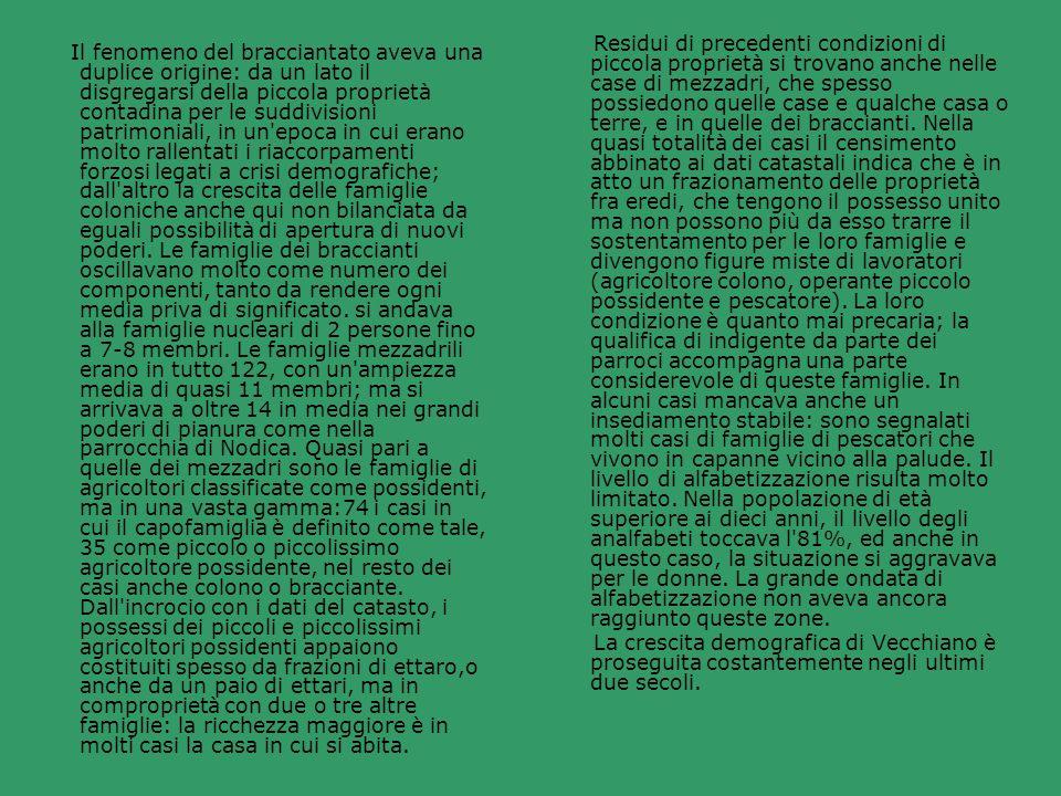 Residui di precedenti condizioni di piccola proprietà si trovano anche nelle case di mezzadri, che spesso possiedono quelle case e qualche casa o terre, e in quelle dei braccianti. Nella quasi totalità dei casi il censimento abbinato ai dati catastali indica che è in atto un frazionamento delle proprietà fra eredi, che tengono il possesso unito ma non possono più da esso trarre il sostentamento per le loro famiglie e divengono figure miste di lavoratori (agricoltore colono, operante piccolo possidente e pescatore). La loro condizione è quanto mai precaria; la qualifica di indigente da parte dei parroci accompagna una parte considerevole di queste famiglie. In alcuni casi mancava anche un insediamento stabile: sono segnalati molti casi di famiglie di pescatori che vivono in capanne vicino alla palude. Il livello di alfabetizzazione risulta molto limitato. Nella popolazione di età superiore ai dieci anni, il livello degli analfabeti toccava l 81%, ed anche in questo caso, la situazione si aggravava per le donne. La grande ondata di alfabetizzazione non aveva ancora raggiunto queste zone.