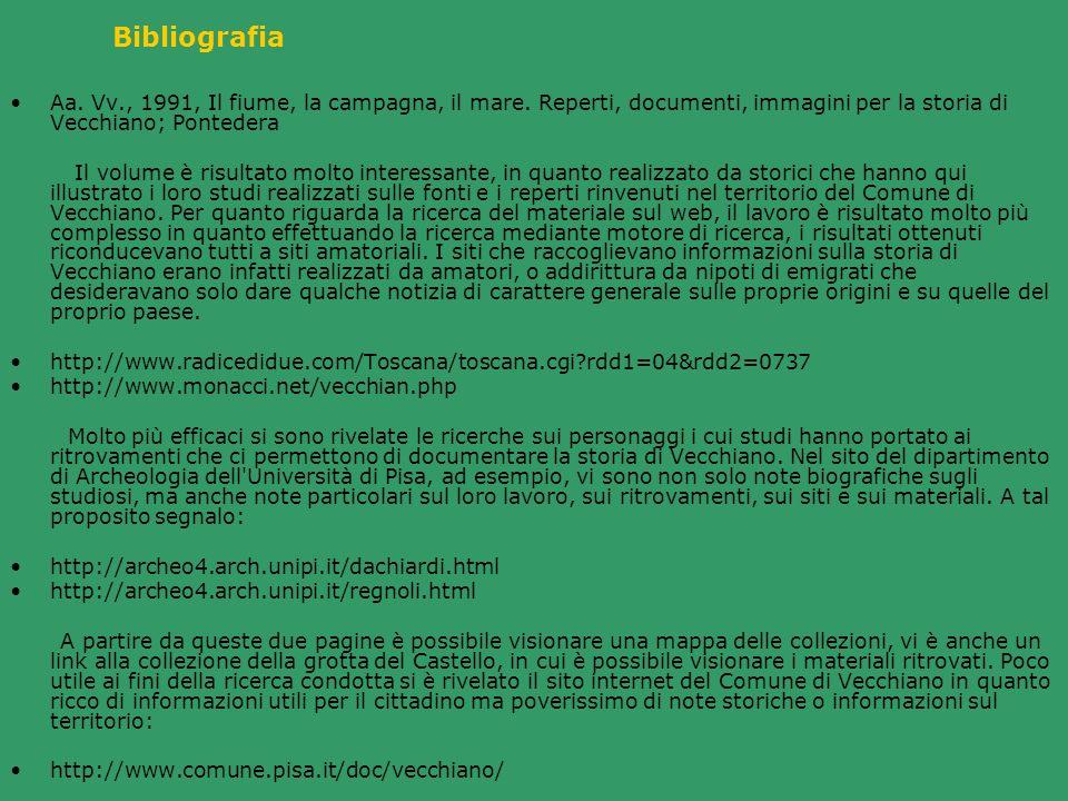 BibliografiaAa. Vv., 1991, Il fiume, la campagna, il mare. Reperti, documenti, immagini per la storia di Vecchiano; Pontedera.