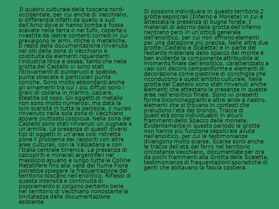 Il quadro culturale della toscana nord-occidentale, per cui anche di Vecchiano, si differenzia infatti da quello a sud dell Arno dove si hanno tombe a fossa scavate nella terra o nel tufo, coperte o rivestite da lastre contenti corredi in cui prevalgono le armi, litiche o metalliche. Il resto della documentazione rinvenuta nei siti della zona di Vecchiano è costituita da elementi riguardanti l industria litica e ossea, tanto che nella grotta del Castello vi sono stati ritrovamenti di punteruoli e spatole, punte sbiecate e particolari punte coniche. Sono molto abbondanti anche gli ornamenti tra cui i più diffusi sono i grani di collana in marmo, calcare, steatite od osso. Gli oggetti di metallo non sono molto numerosi, ma data la loro scarsità in tutta la penisola, il nucleo rinvenuto nella sola zona di Vecchiano appare piuttosto cospicua. Nella zona del Castello sono stati rinvenuti un pugnale e un armilla. La presenza di questi diversi tipi di oggetti in un area così ristretta pone il problema dei rapporti con altre aree culturali, con la Valpadana e con l Italia centrale tirrenica. La presenza di calcopiriti e minerali argentiferi nel massiccio apuano e lungo tutte le Colline Metallifere fino alla valle del fiume Fiora potrebbe spiegare la frequentazione del territorio toscano nell enolitico. Riflessi di questa intensità e continuità di popolamento si colgono pertanto bene nel territorio di Vecchiano nonostante la limitatezza della documentazione esistente.