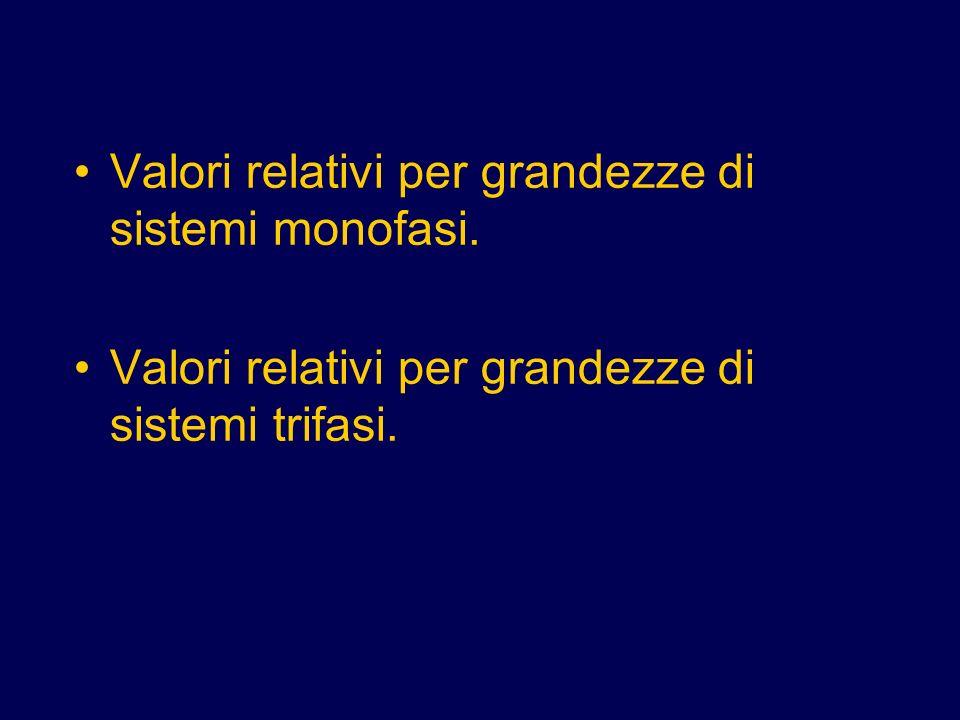 Valori relativi per grandezze di sistemi monofasi.