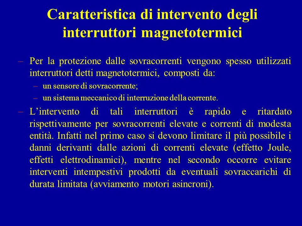 Caratteristica di intervento degli interruttori magnetotermici