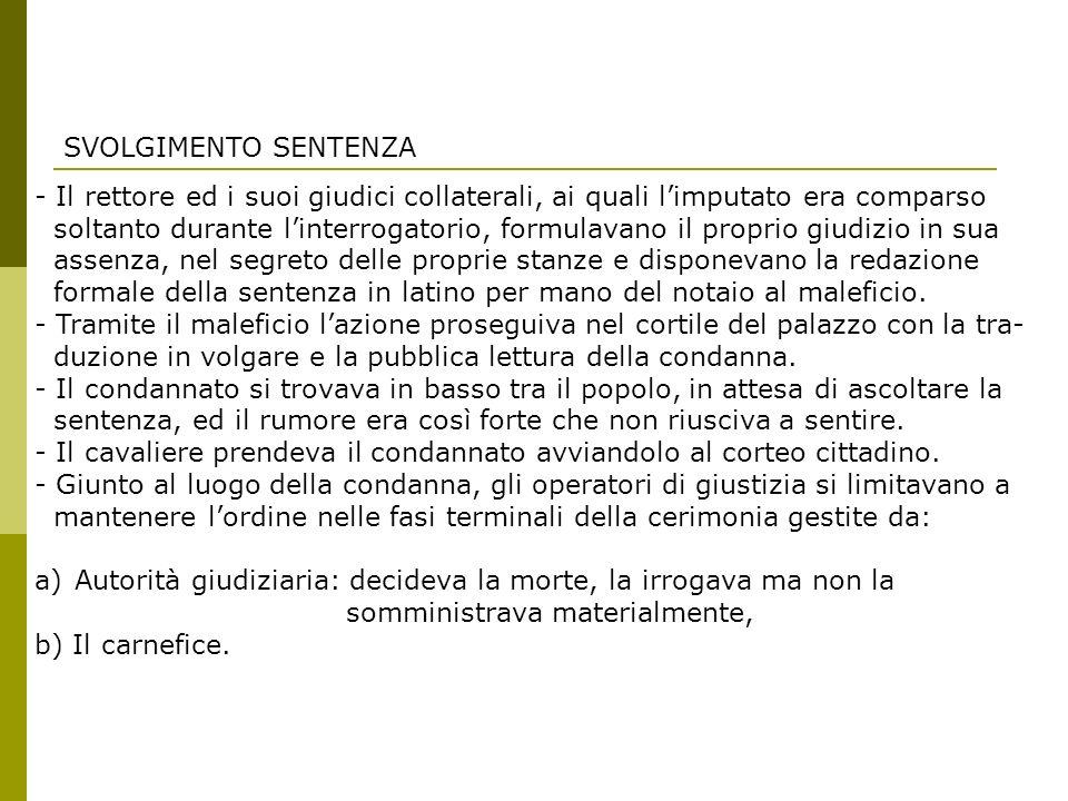 SVOLGIMENTO SENTENZA - Il rettore ed i suoi giudici collaterali, ai quali l'imputato era comparso.