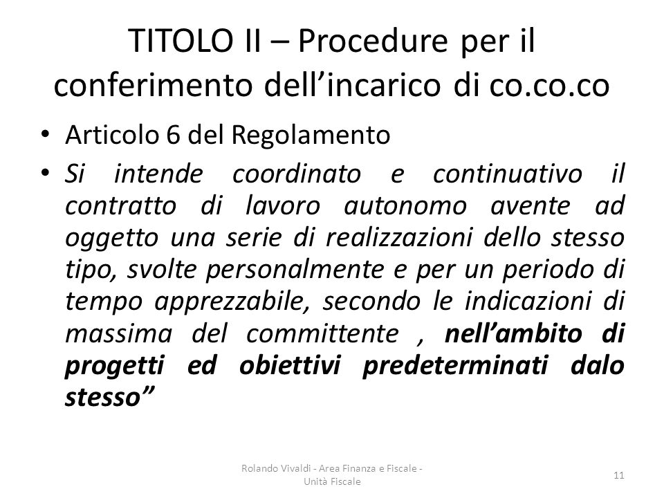 TITOLO II – Procedure per il conferimento dell'incarico di co.co.co