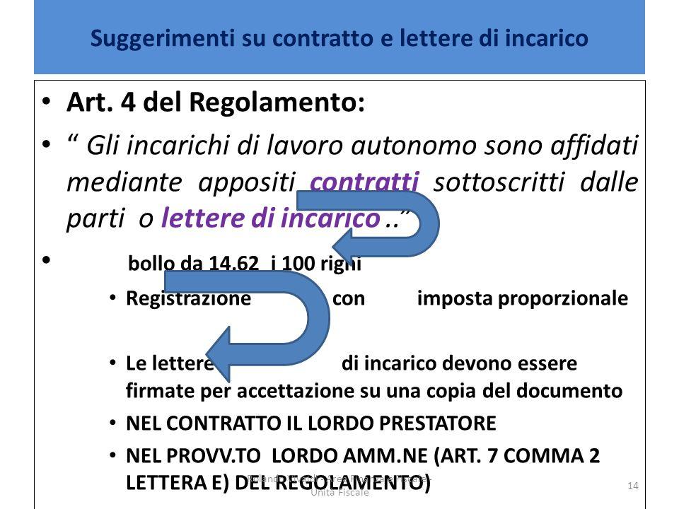Suggerimenti su contratto e lettere di incarico
