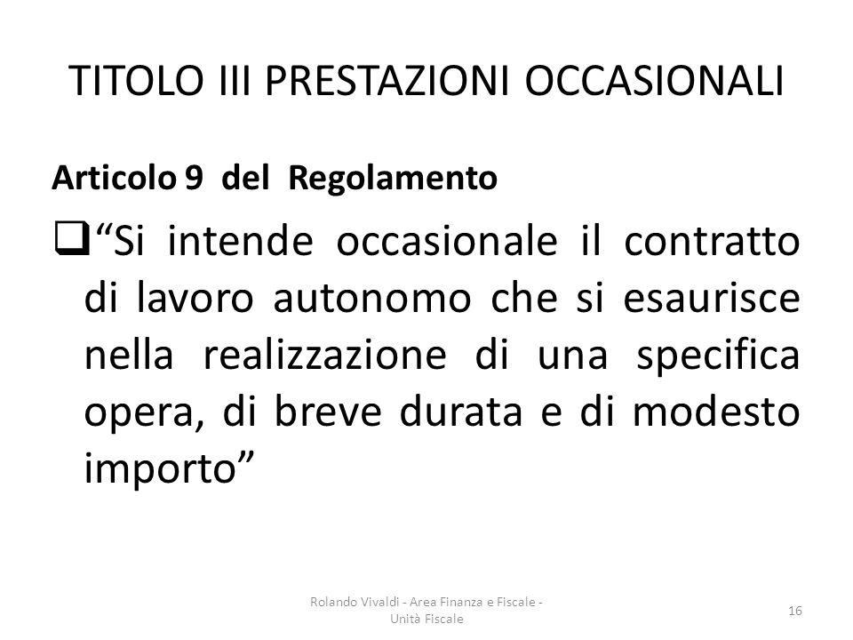 TITOLO III PRESTAZIONI OCCASIONALI