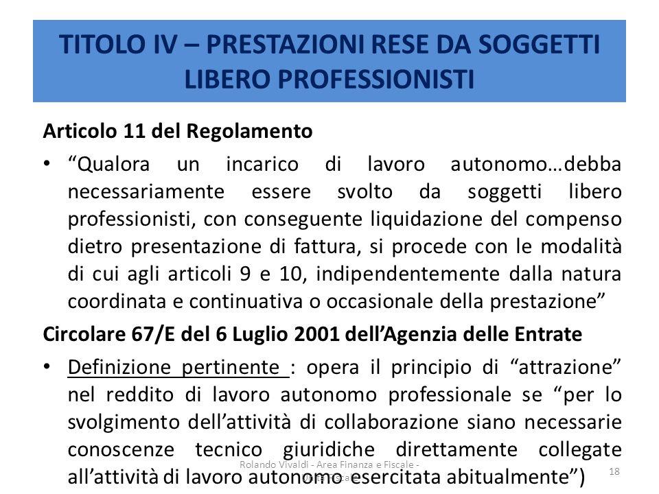 TITOLO IV – PRESTAZIONI RESE DA SOGGETTI LIBERO PROFESSIONISTI