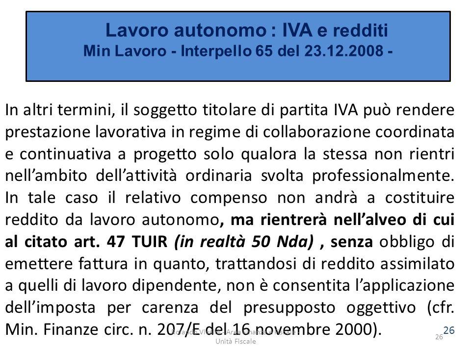 Lavoro autonomo : IVA e redditi