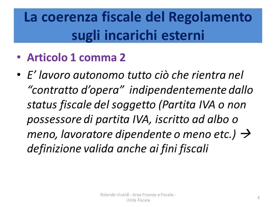 La coerenza fiscale del Regolamento sugli incarichi esterni