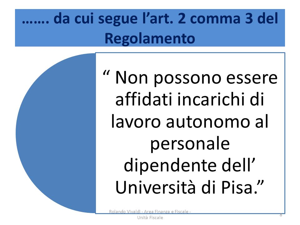 ……. da cui segue l'art. 2 comma 3 del Regolamento