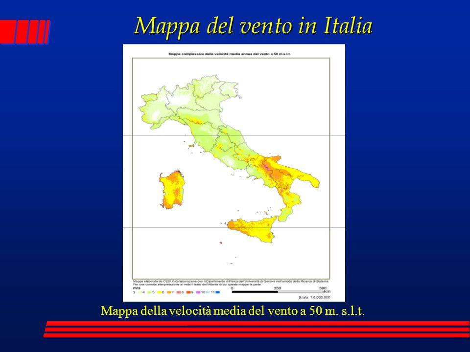 Mappa del vento in Italia