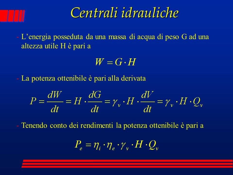 Centrali idrauliche L'energia posseduta da una massa di acqua di peso G ad una altezza utile H è pari a.
