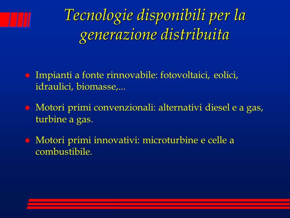 Tecnologie disponibili per la generazione distribuita