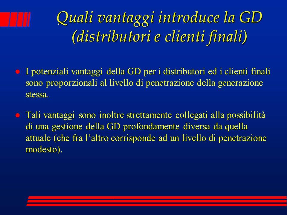 Quali vantaggi introduce la GD (distributori e clienti finali)