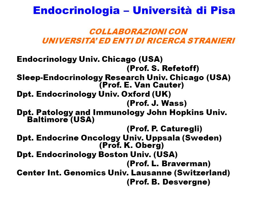 Endocrinologia – Università di Pisa