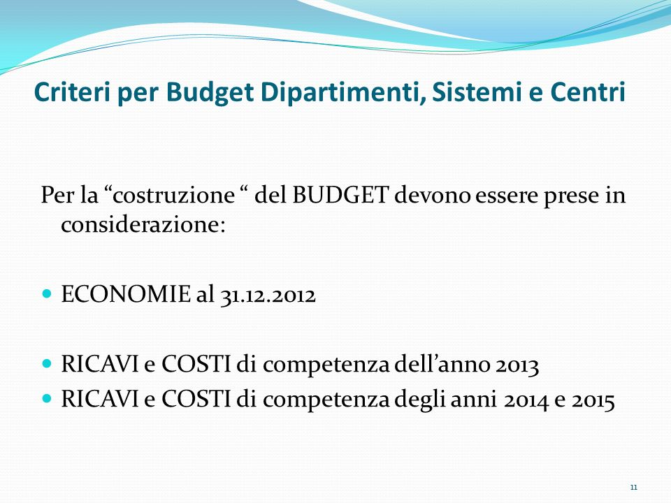 Criteri per Budget Dipartimenti, Sistemi e Centri