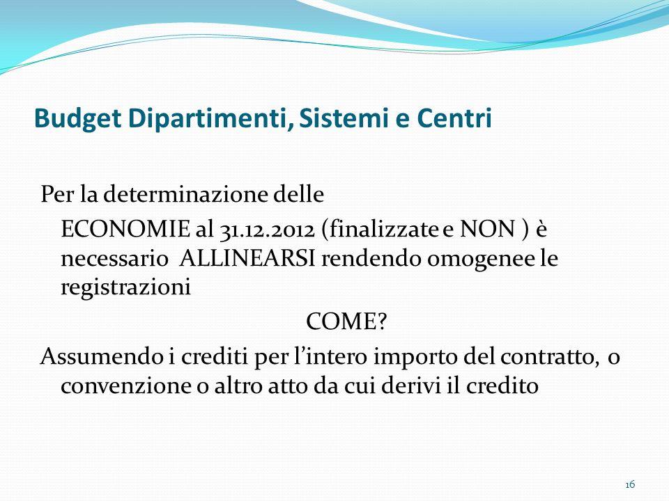 Budget Dipartimenti, Sistemi e Centri