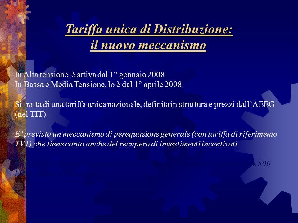 Tariffa unica di Distribuzione: il nuovo meccanismo