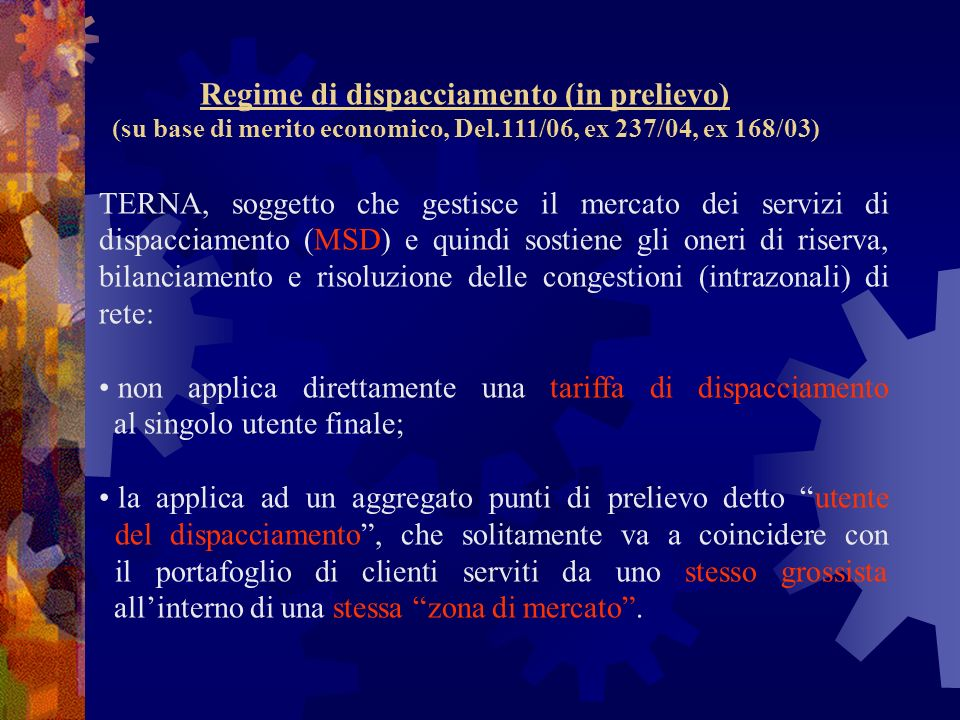 Regime di dispacciamento (in prelievo)