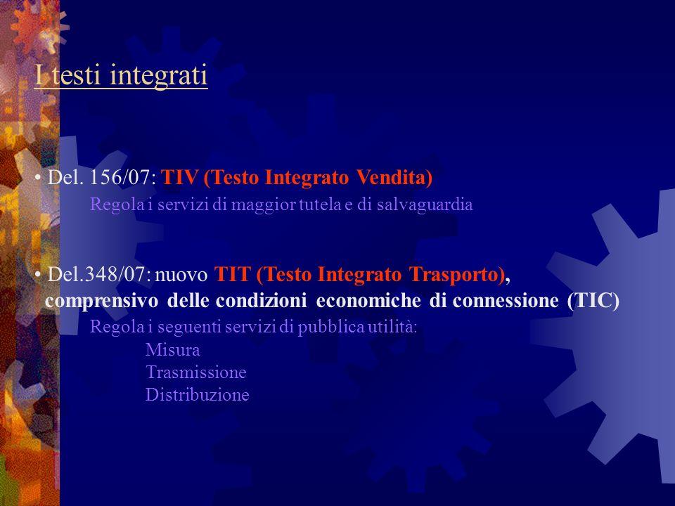 I testi integrati Del. 156/07: TIV (Testo Integrato Vendita) Regola i servizi di maggior tutela e di salvaguardia.