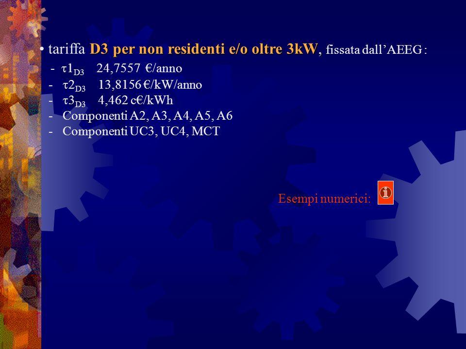 tariffa D3 per non residenti e/o oltre 3kW, fissata dall'AEEG :