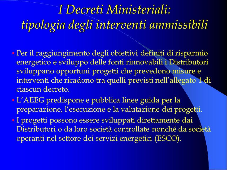 I Decreti Ministeriali: tipologia degli interventi ammissibili