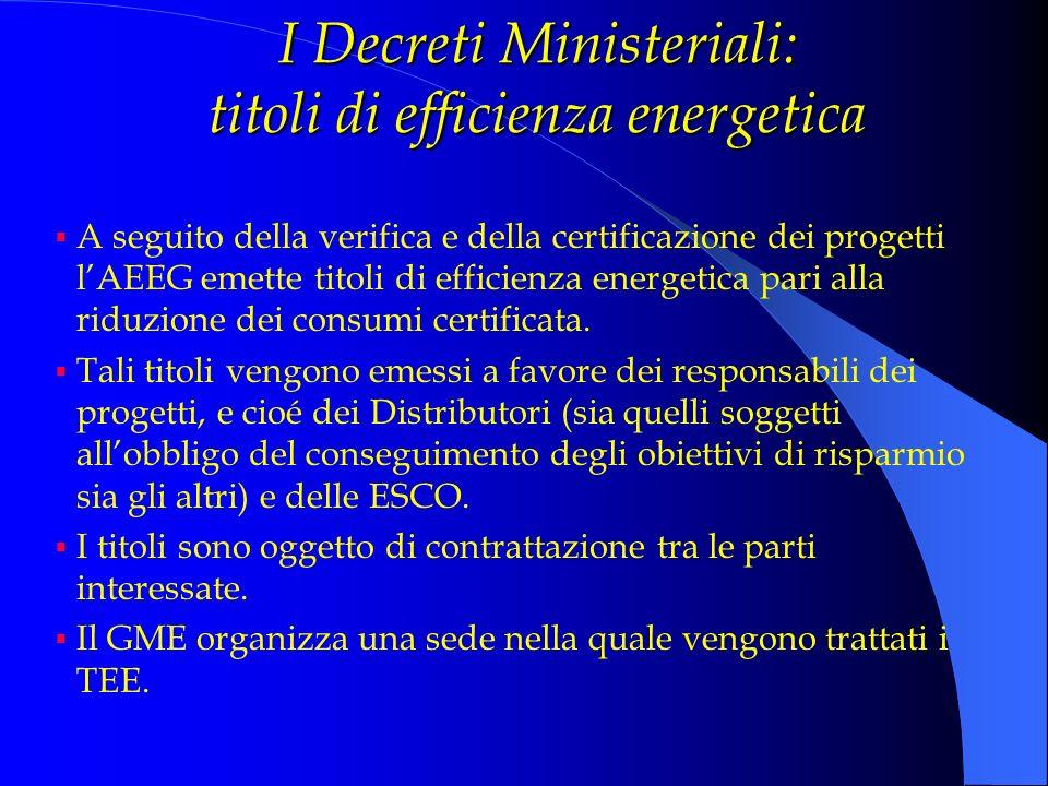 I Decreti Ministeriali: titoli di efficienza energetica