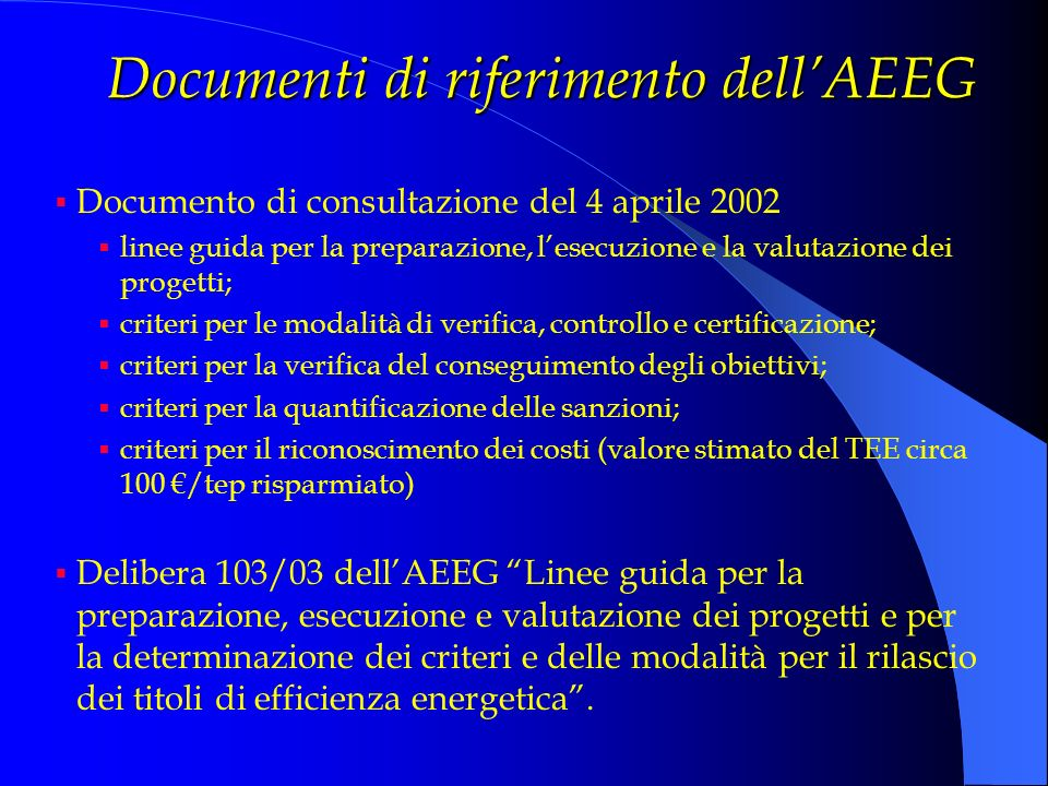 Documenti di riferimento dell'AEEG