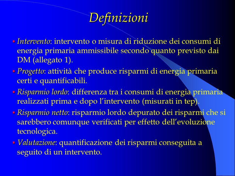 Definizioni Intervento: intervento o misura di riduzione dei consumi di energia primaria ammissibile secondo quanto previsto dai DM (allegato 1).