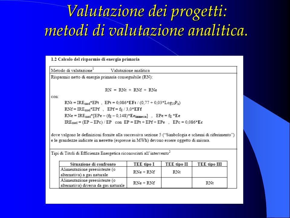Valutazione dei progetti: metodi di valutazione analitica.