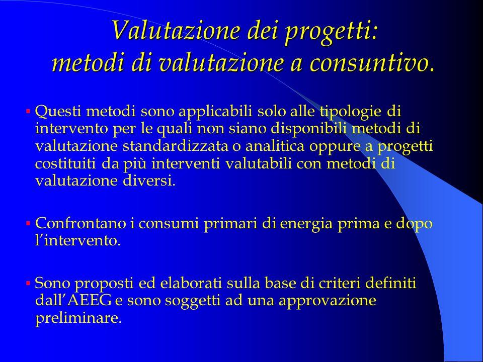 Valutazione dei progetti: metodi di valutazione a consuntivo.
