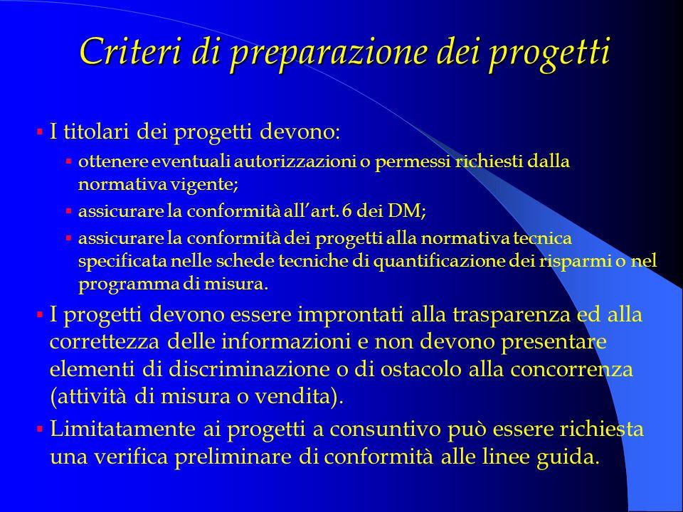 Criteri di preparazione dei progetti