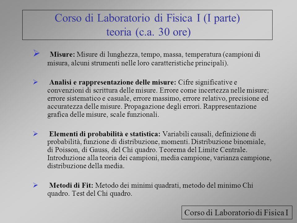 Corso di Laboratorio di Fisica I (I parte) teoria (c.a. 30 ore)