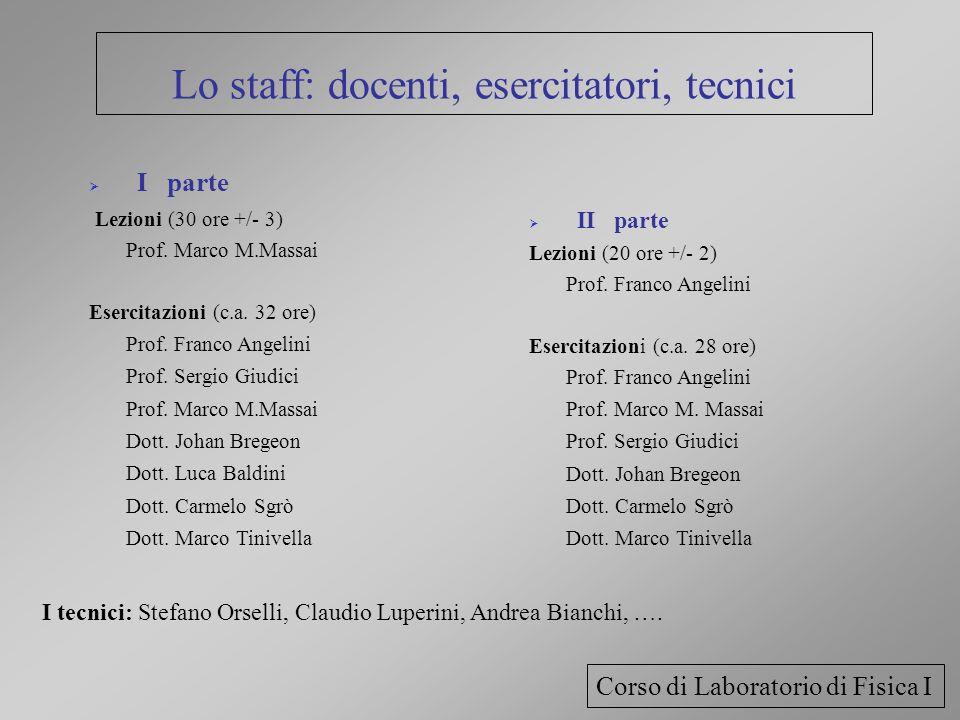 Lo staff: docenti, esercitatori, tecnici