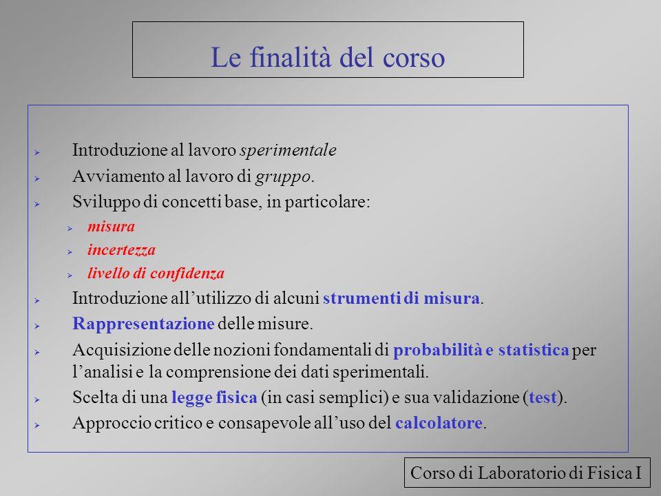 Le finalità del corso Introduzione al lavoro sperimentale