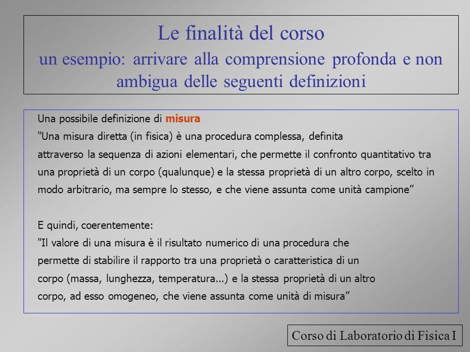 Le finalità del corso un esempio: arrivare alla comprensione profonda e non ambigua delle seguenti definizioni