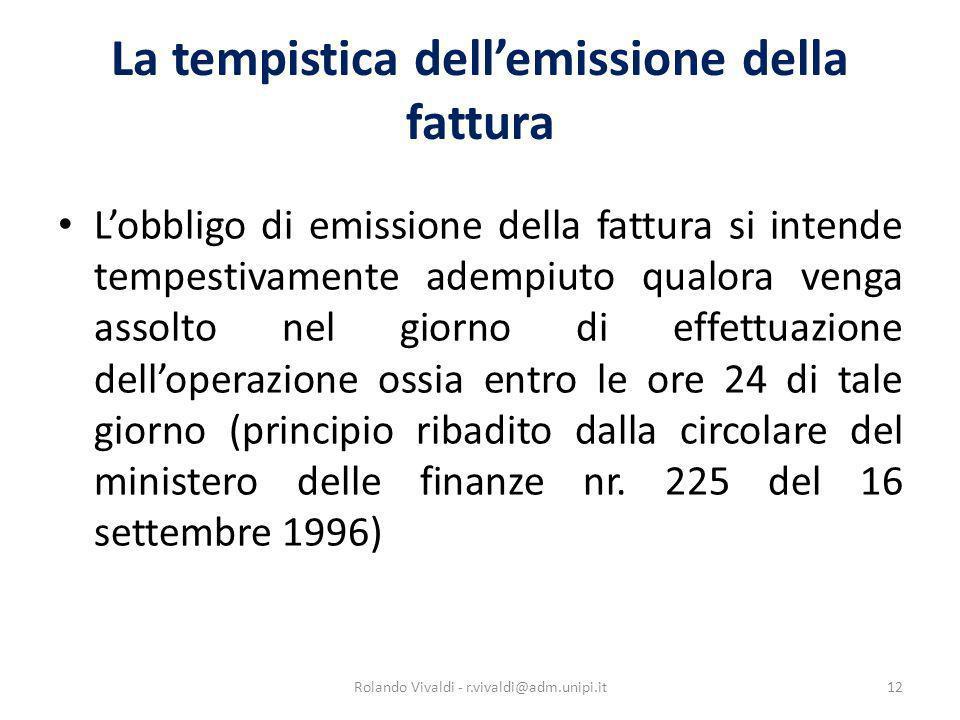 La tempistica dell'emissione della fattura