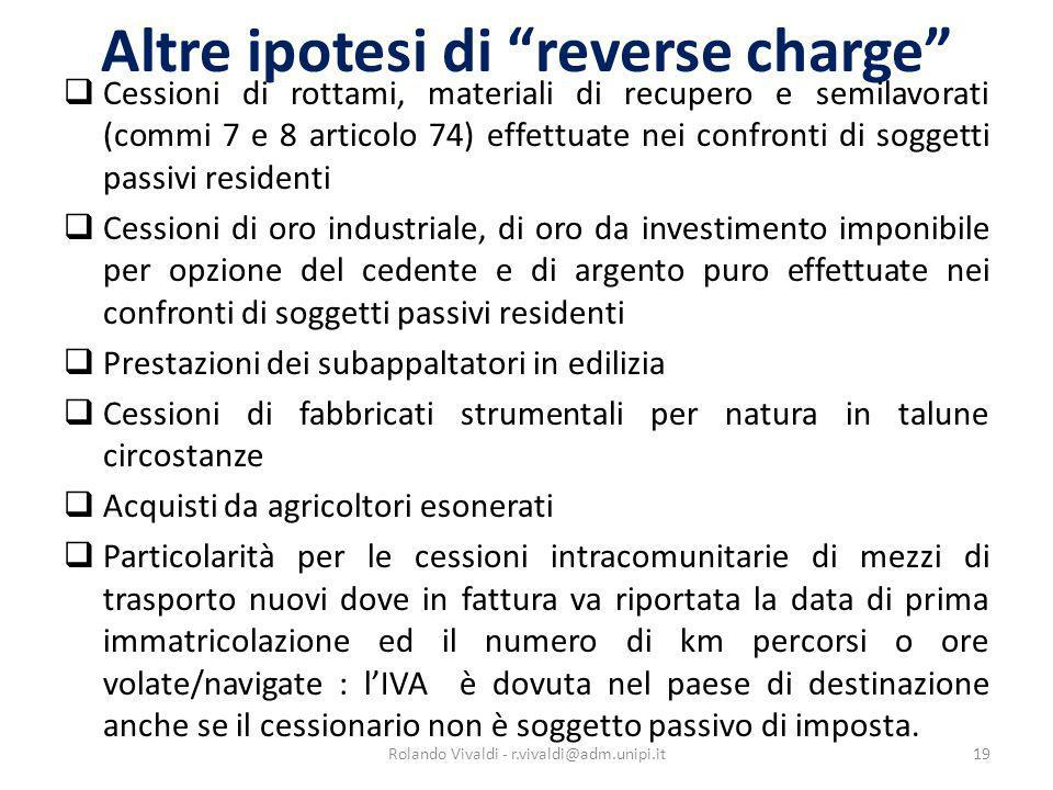 Altre ipotesi di reverse charge