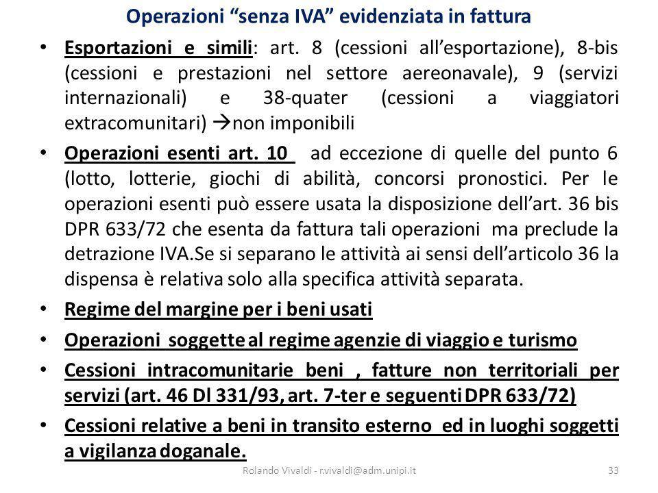 Operazioni senza IVA evidenziata in fattura