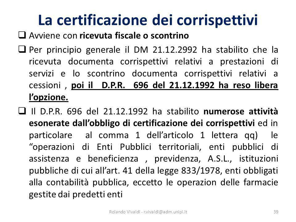 La certificazione dei corrispettivi