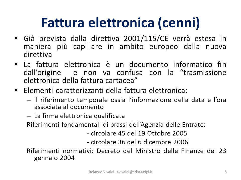 Fattura elettronica (cenni)